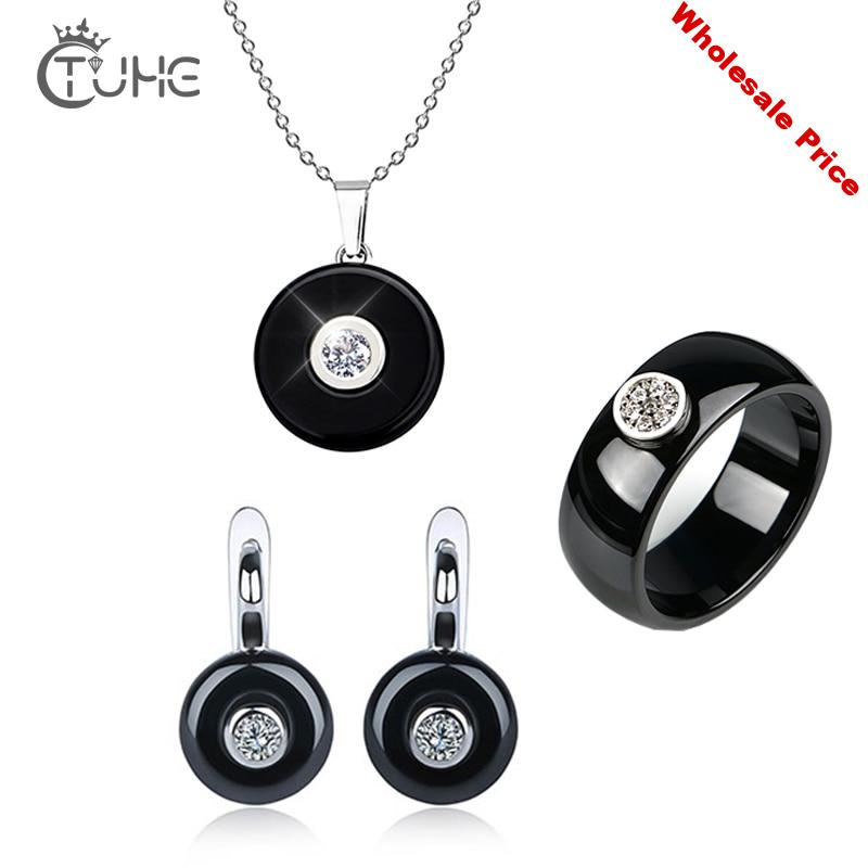 Hot Women Ceramic Jewlery Sets Round Pendant Necklace Cute Earrings Smooth Ceramic Rings Wedding Party Fashion Ceremoey Anel