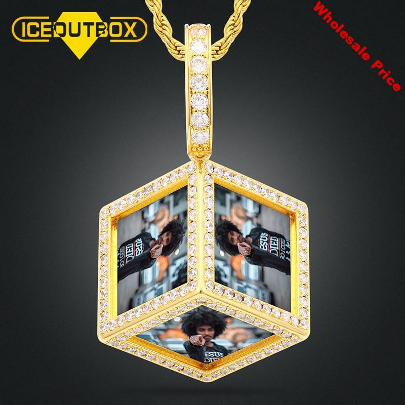 Personality Design Cube Custom Made Pictures Medallions Pendant Necklace For Women Men's Hip Hop Jewelry Custom 6 Photos Pendant