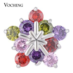 10PCS/Lot Wholesale Vocheng Ginger Snap Luxury CZ Stone Pentagram 18mm 4 Colors Ritzy Brass Charms Vn-1280*10