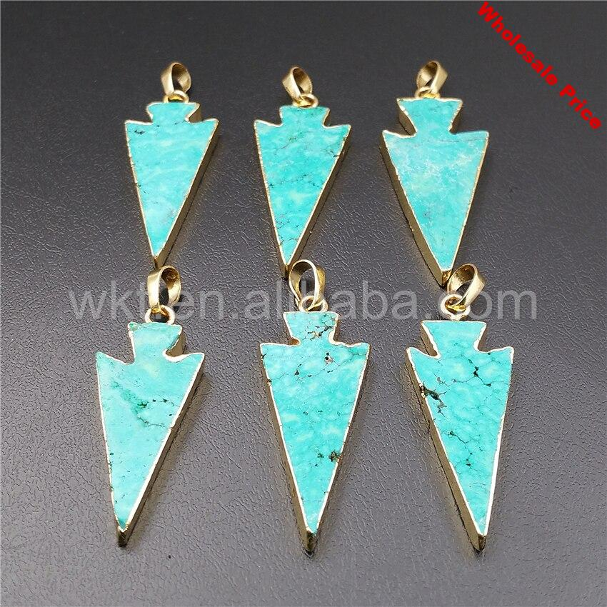 WT-P992 Fashion Arrow howlite stone pendant with gold eletroplated in high quality