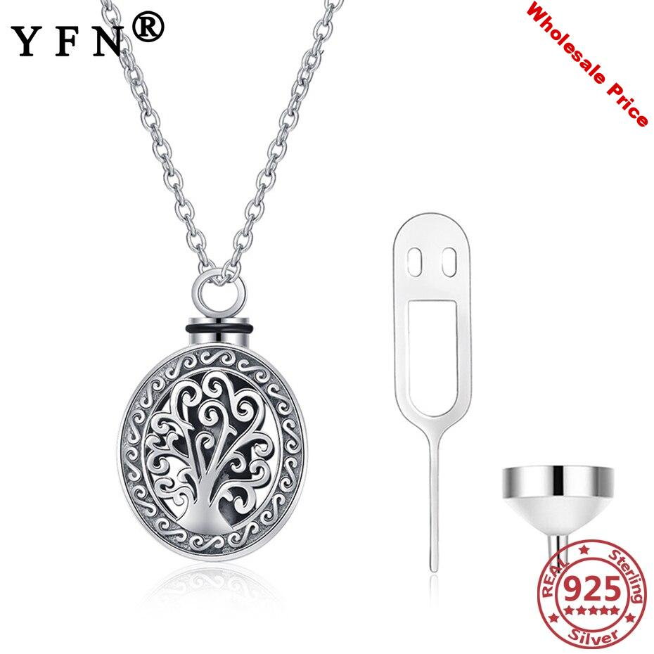 YFN 925 Sterling Silver Life of Tree Urn Necklaces for Ashes Vintage Memorial Pet Ash Casket Cremation Woman's Pendant Necklaces