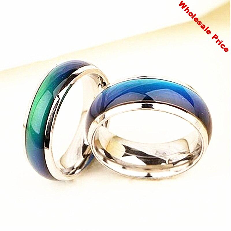36PCs Mood ring Color Change by temperature sensation feeling energy men women unisex Stainless Steel Band finger Rings jewelry