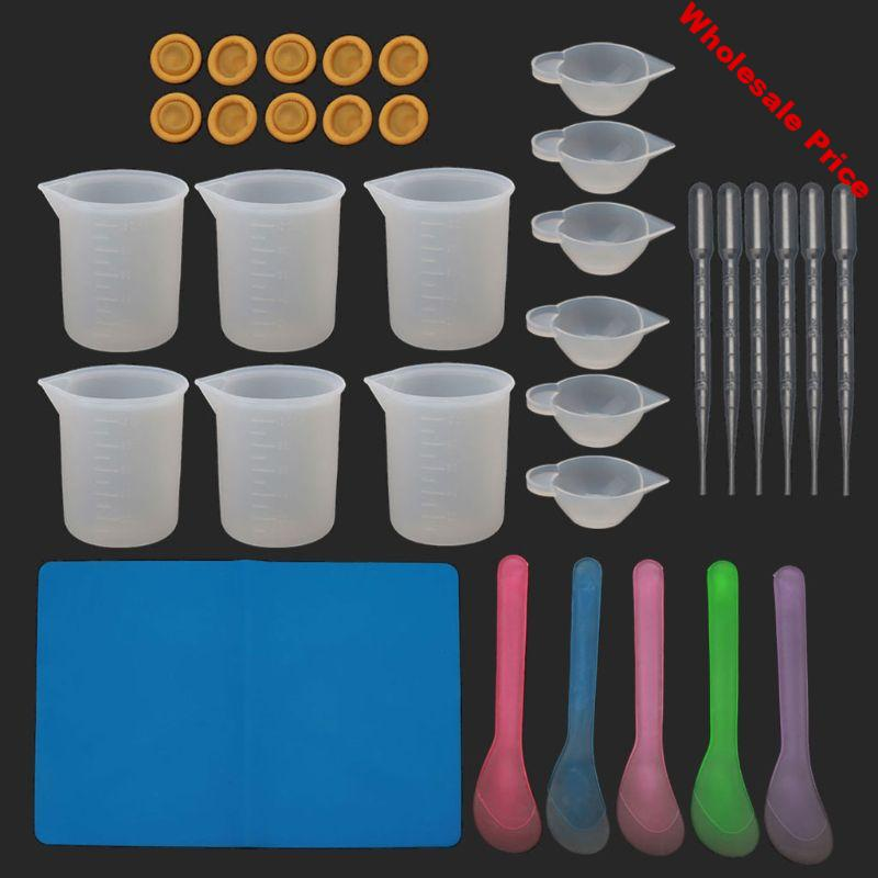 34Pc Reusable Silicone Resin Kit Nonstick Silicone Mat 100ml Measuring Cups Finger Cots Resin Mix Cup Stir Stick Pipette