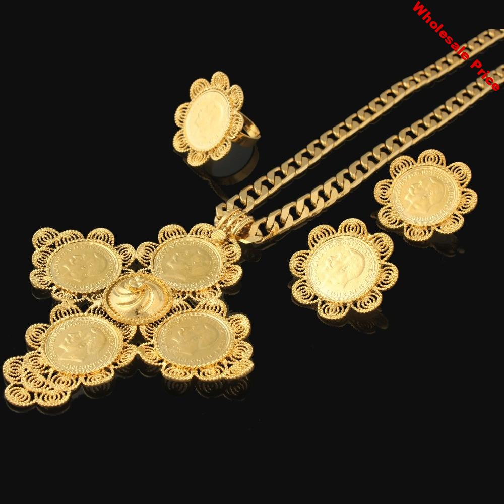Newest Big Size Cross Ethiopian wedding Habesha jewelry sets For Women  Gold Filled Cross Jewelry African bridal jewelry sets
