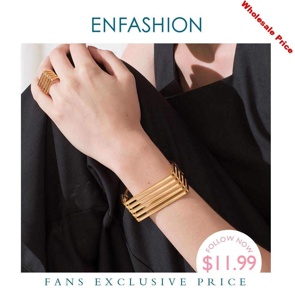 ENFASHION Punk Multilayer Rows Bangle Stainless Steel Gold Color Layered Cuff Bracelets Bangles For Women Fashion Jewelry B2024