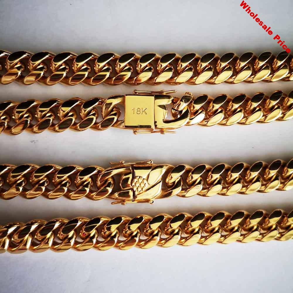 14mm Stainless Steel Miami Curb Cuban Chain Necklace Boys Men gold color Hip hop Dragon Lock Clasp Link jewelry 18 K letter