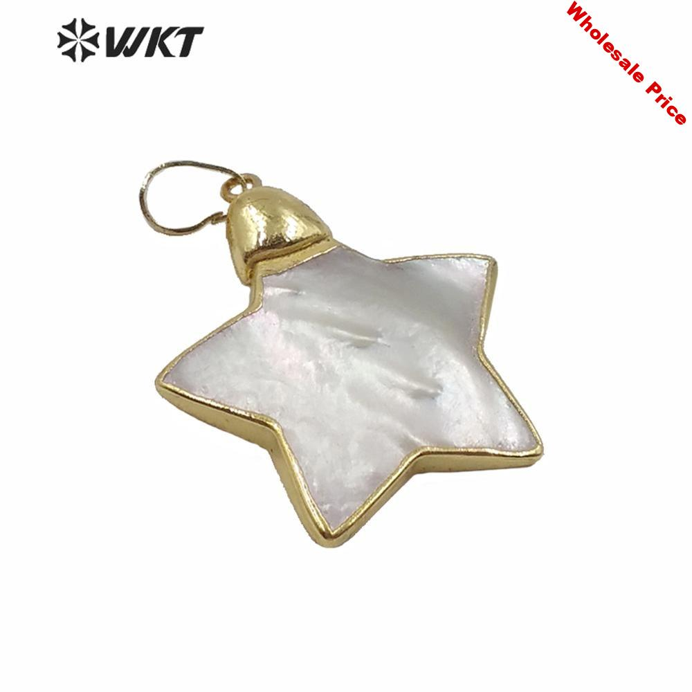 WT-JP213 WKT Lovely Star Pearl Pendants Mother Of Pearl Pendant Gold Electroplated Pendant Jewelry Making for Women Necklaces