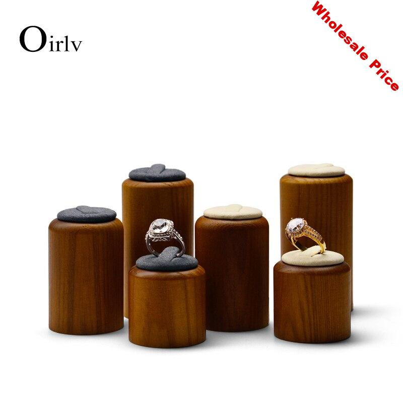 Oirlv 3 Piece/Set Jewelry Display Set Round Ring Holder Solid Wood Jewelry Support Decoration Jewelry Stand showcase