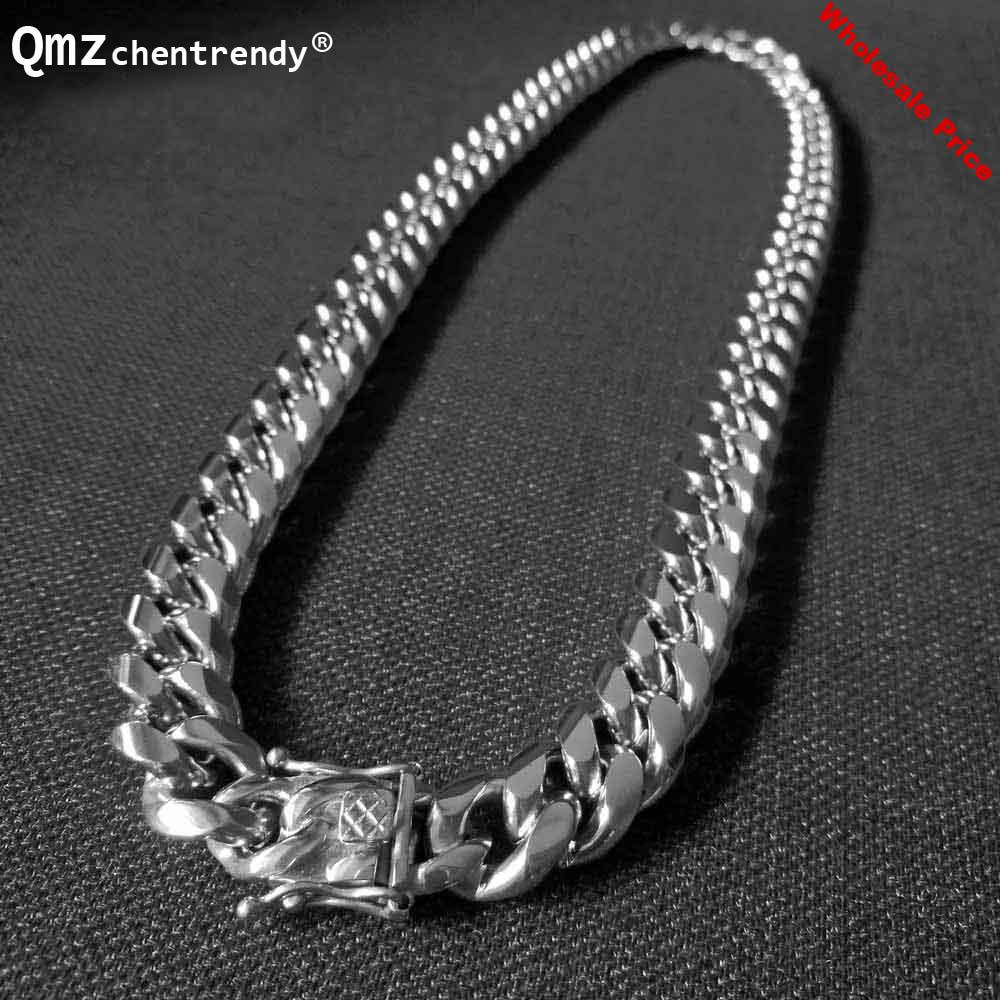 Qmzchentrendy 14mm Stainless Steel Polishing Gold Silver Plated Curb Cuban Chain Necklaces Boy Mens Hip hop Dragon Clasp jewelry