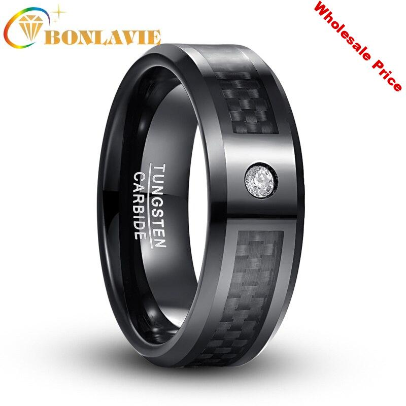 Male Ring 8mm Electroplated  Black Carbon Fiber Oblique Mens Ring 100% Tungsten Steel Engagement Rings Bague Homme Jewelry