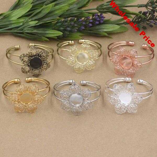 10PCS 15mm Round Cabochon Bangle Base Setting 6 Colors Plated Vintage Metal Bangle Blank Tray Setting For Jewelry Making