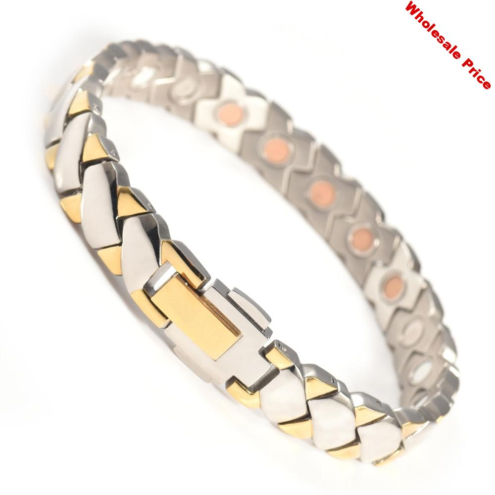 Wollet Jewelry Stainless Steel Magnetic Bangle Bracelet for Women Men Infrared Negative Ion Magnet Health Care Golden