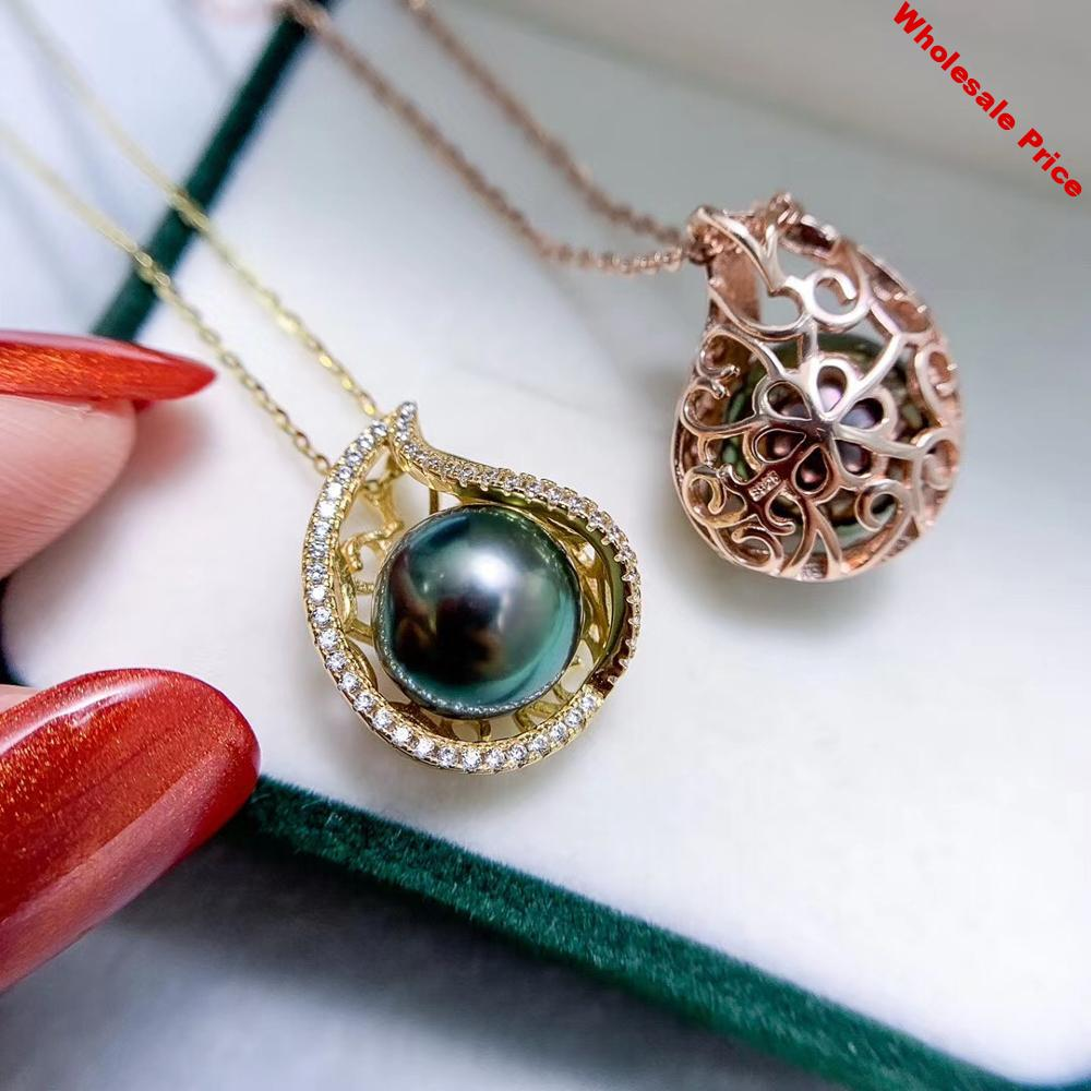 Fashion 925 Sterling Silver Pendant Setting Mounting Findings Jewelry Base for Crystals Agate Pearls Corals Jade Stones Beads