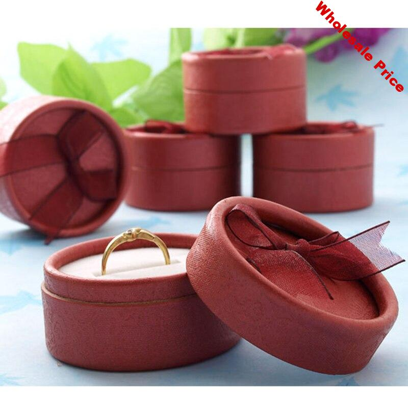De Bijoux Wholesale 30pcs/lot 5.5 x 3.5cm Red Round Jewelry Packaging Ring & Earring Party Gift Box Favor boxes