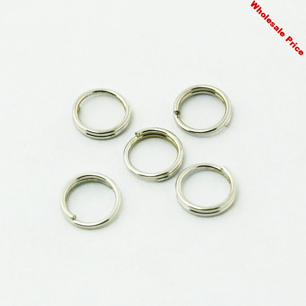 Approx 6600pcs/lot Metal Open Jump rings Rhodium Plated 6MM Double Loops Jump Rings