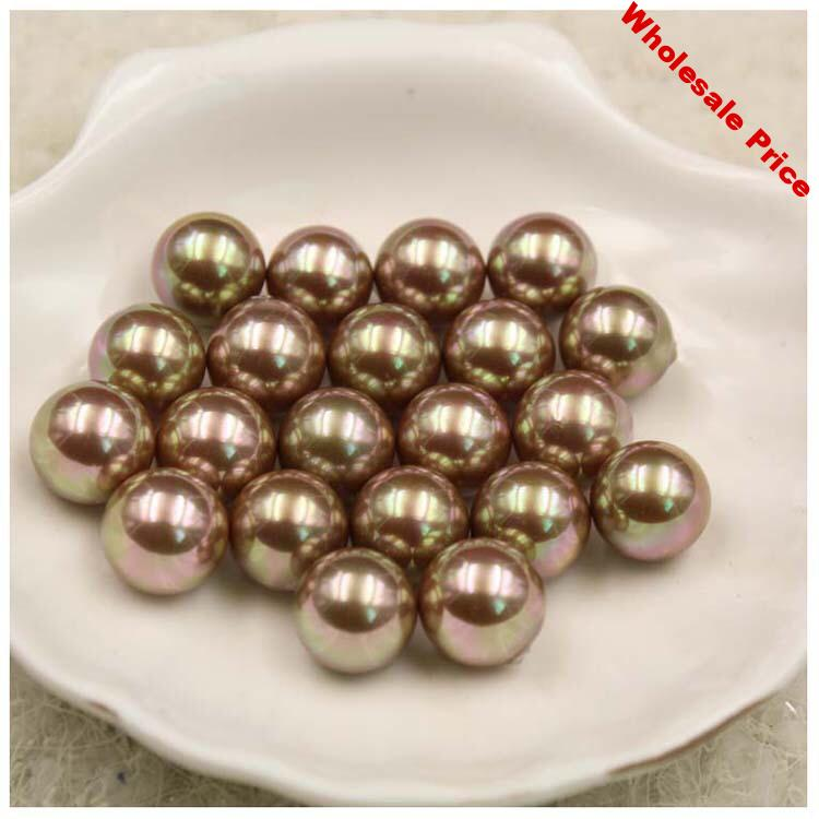 Champagne Color Nice Quality South Sea Oyster Shell Pearls Half Drilled Loose Pearls