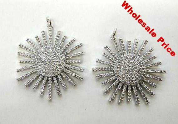 AA+ 2pcs Silver CZ Micro pave stone North Star Charms 40mm