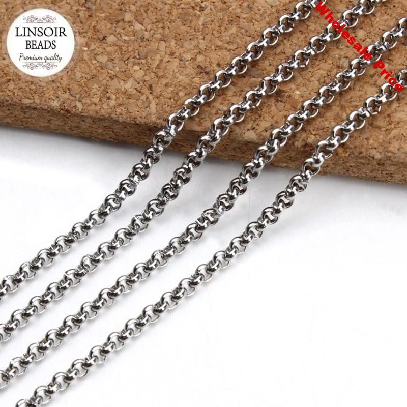 LINSOIR 10Yard/lot Dia 2/2.5/3/4/5mm Stainless Steel Link O Chain Bulk Silver Color Rolo Chain For Necklace Diy Jewelry Making