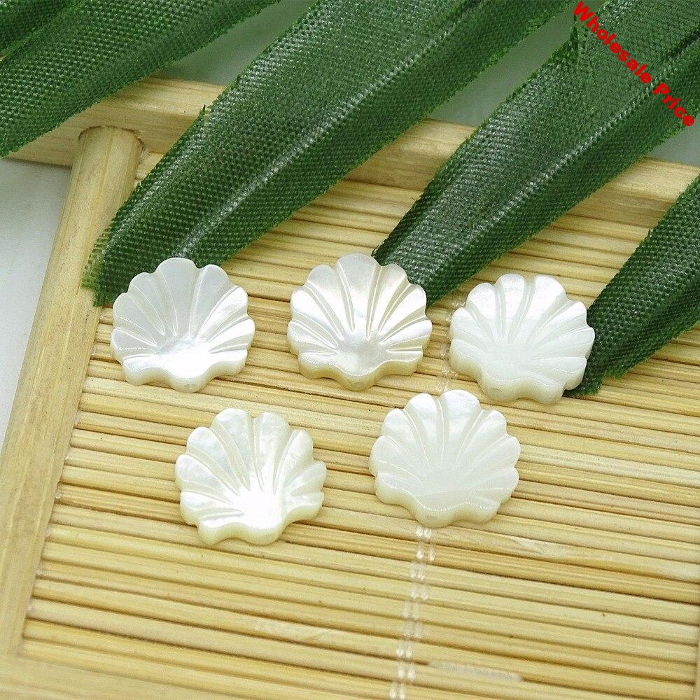 Wholesales White Sea Shell shape Carved Natural Mother Of Pearl Shell loose Beads DIY Findings For Jewelry Making