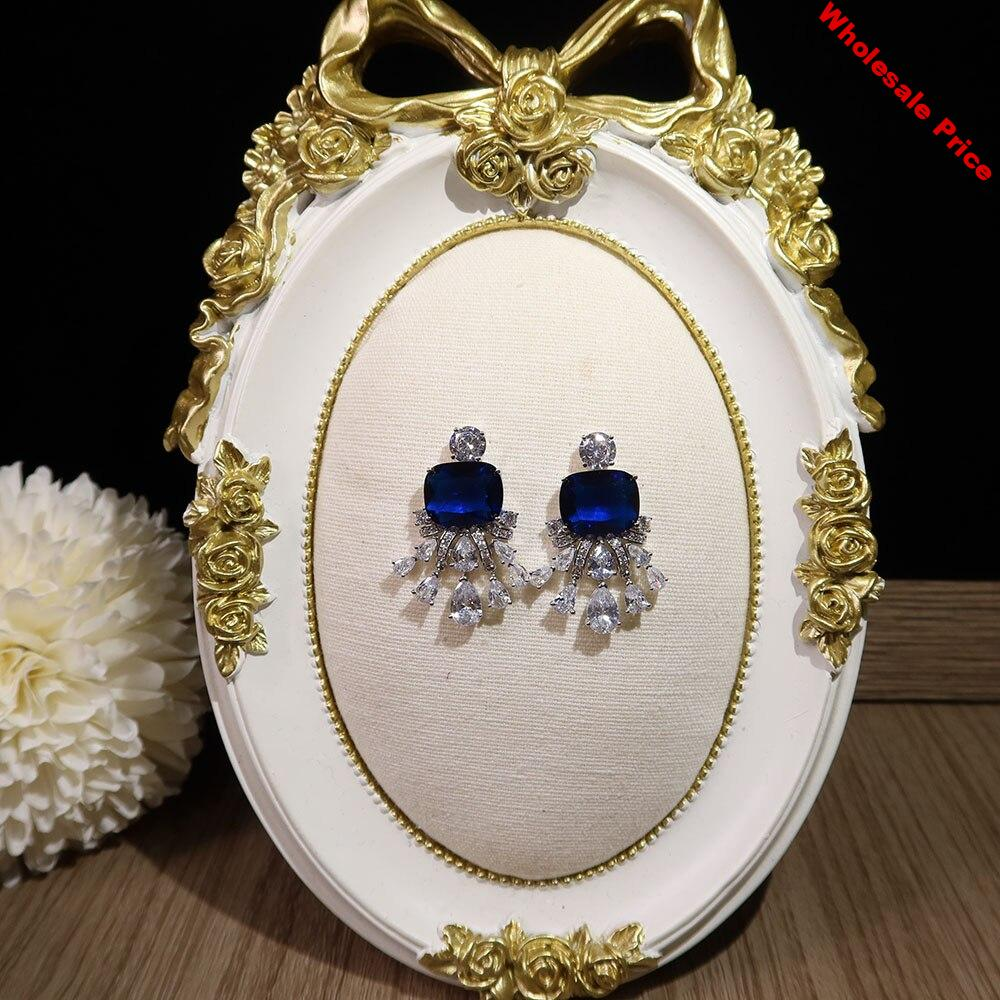 Fashion trend high Blue  Earrings Prom Party superior quality Celebrity Earrings Free shipping Anti allergy needle anti