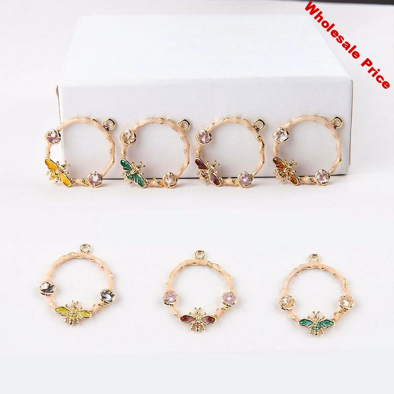 Diy jewelry making 30pcs/lot animal bee/flower decoration geometry rounds shape alloy floating locket charms fit earring pendant
