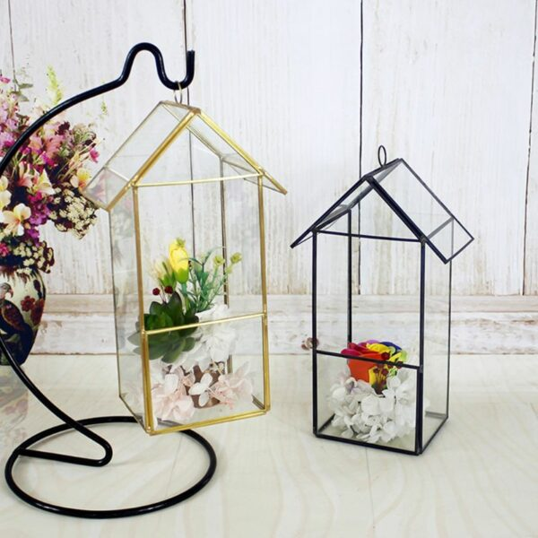 Whole House Shaped Glass Terrarium Geometric Storage Box jewelry holder Terrarium Container Tabletop for Succulent & Air Plant