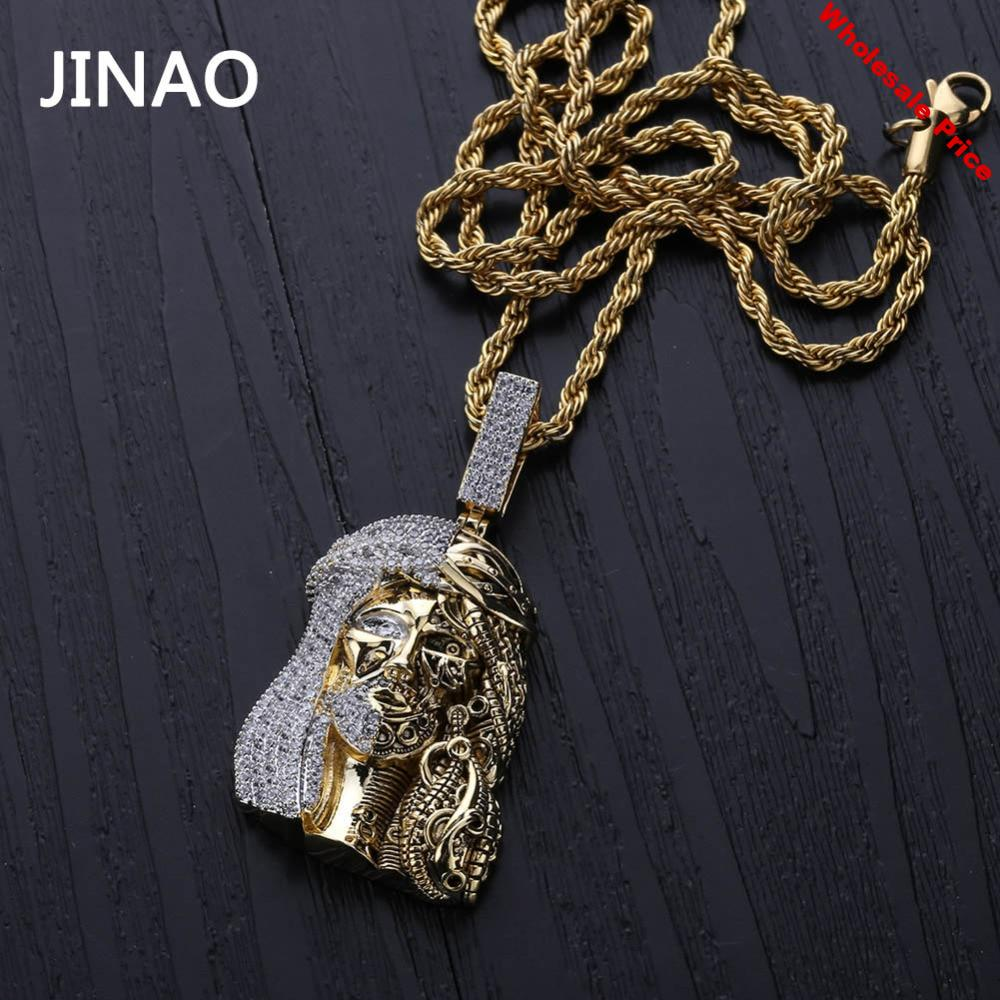 JINAO Gold Color Iced Out Chain Cubic Zircon Religious Ghost Jesus Head Pendant Necklaces Men Gifts Hip Hop Bling Jewelry