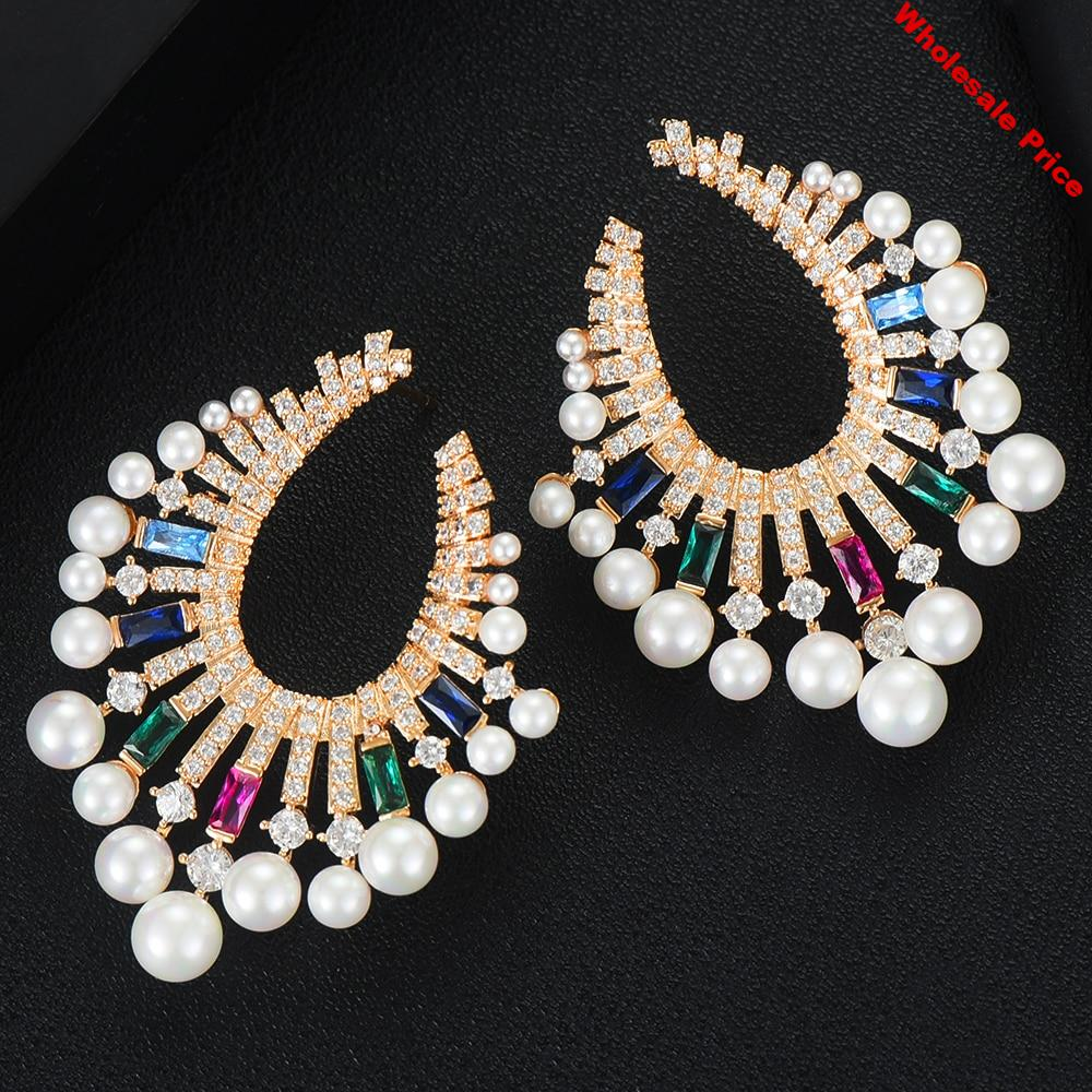 GODKI Trendy Fireworks Simulated Pearl Stud Earrings For Women Wedding CZ Brincos boucle d'oreille 2020 Bohemia Jewelry HOT
