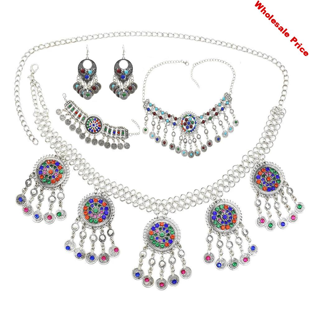 Gypsy Afghan Silver Color Coin Tassel Necklace Jhumka Earrings Bracelet Waist Belly Dance Chain Sets Boho Turkish Indian Jewelry