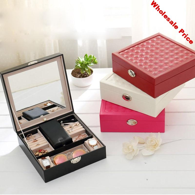 Russia Shipping Multi-functional Ring Cases Packaging Gift Box Jewelry Display Stand Casket Decorations Jewelry Box KQS8