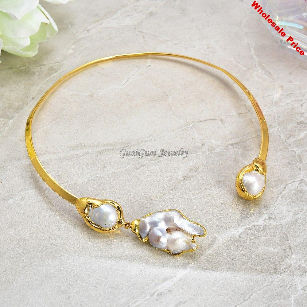 GG Jewelry White Keshi Pearl Yellow Golden Plated Choker Necklace
