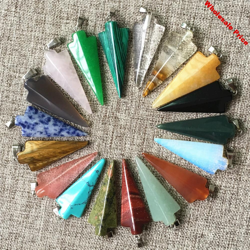 Arrow Natural Stone Pendants for Making Jewelry Joyas Charms Fashion Top Quality Nickles Necklace Pendant 12pcs Free Shipping