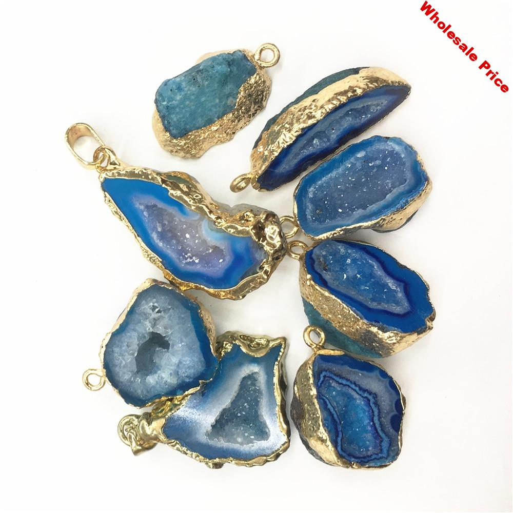 Hot Fashion Natural Stone Reiki Druzys Pendants&Necklace Brazilian Electroplated Gold  Edged Slice Open Blue Agates Geode Drusy