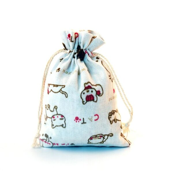 New 50pcs/lot 10x14cm Small Cats Print Cotton Bags Wedding Linen Gift Bag Pouches Cute Charms Watch Jewelry Packaging Bags