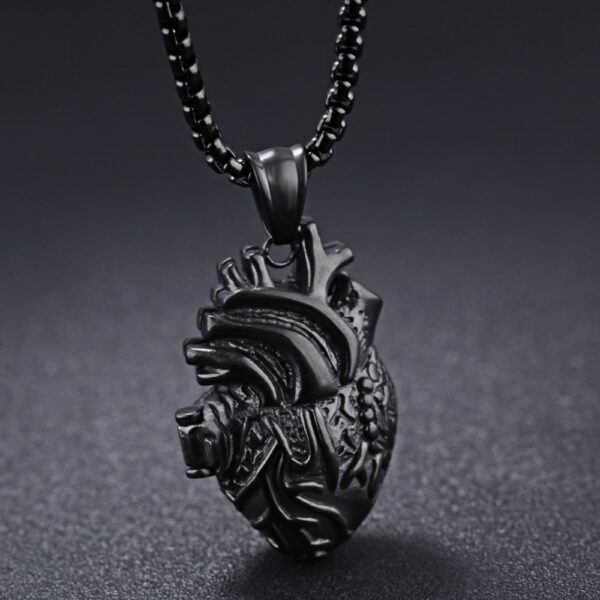 """Charming 316L Stainless Steel Black Tone Anatomical Open Heart Design Pendant Necklace Mens Womens Jewelry Box Chain Gift 24"""""""