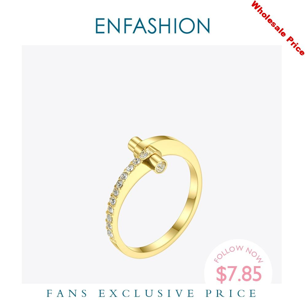 ENFASHION Cute Crystal Ring Gold Color Stainless Steel Lady Finger Rings For Women Fashion Jewelry Friends Gifts Wholesale R4019