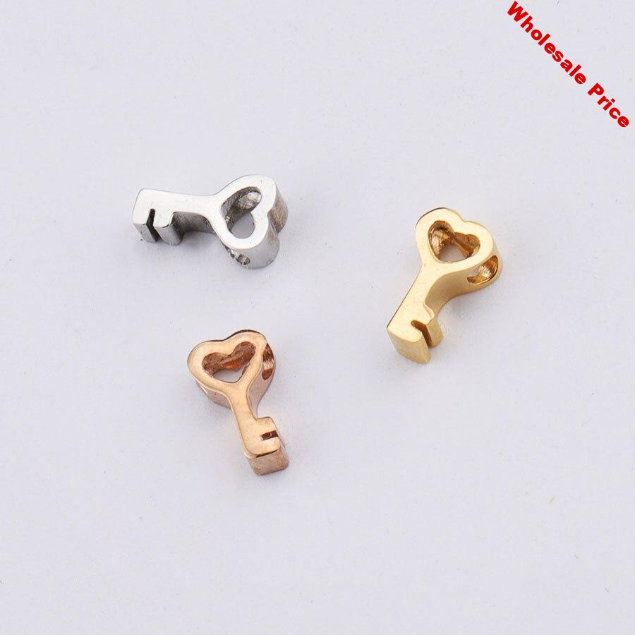 Stainless Steel Love Key Small Hole Beads Small Pendant Mirror Fine Polished Hollow Heart Key Beads 1.8mm Hole Accessories
