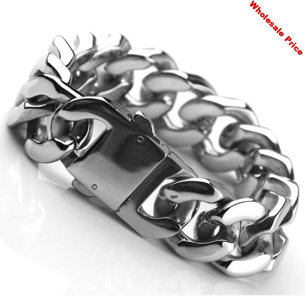 """Christmas Gift Heavy 8.46""""*20mm Stainless Steel Silver Color Cuban Curb Chain Men's Boy's Bracelet Wristband Biker Jewelry 165G"""