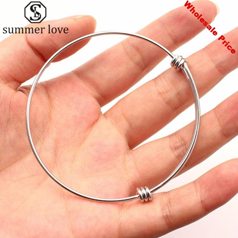 20Pcs/Lot Adjustable Charm Expandable Bangles 316L Stainless Steel Wire Cuff Bangle Bracelet DIY Jewelry Making Accessories