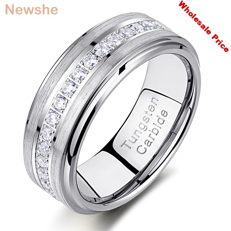 Newshe Mens Promise Wedding Band Tungsten Carbide Rings For Men Charm Ring 8mm Size 9-13 AAA White Round Zircon Jewelry TRX058
