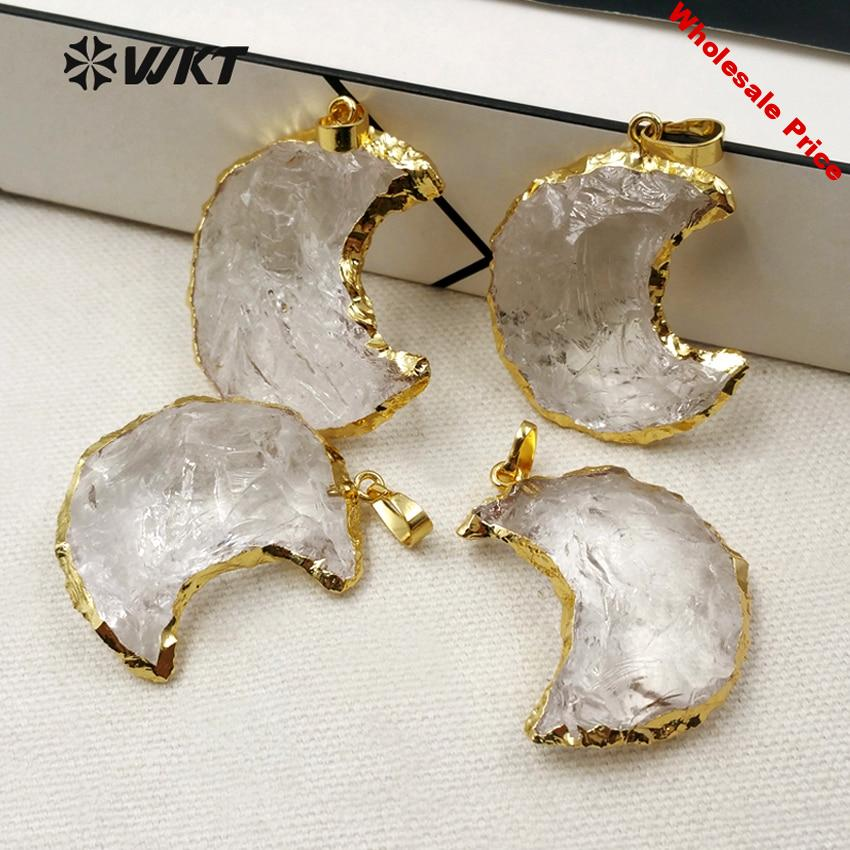 WKT WT-P1301 New ! Romantic Women Necklace Pendant New Moon Shape Natural Crystal With 24K Metal Electroplated Jewelry