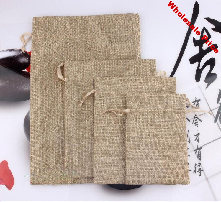 16*20cm 20pcs Jute Christmas Gift Bags Cotton Linen Drawstring Pouches Muslin Wedding Party Favor Holders Packaging bags