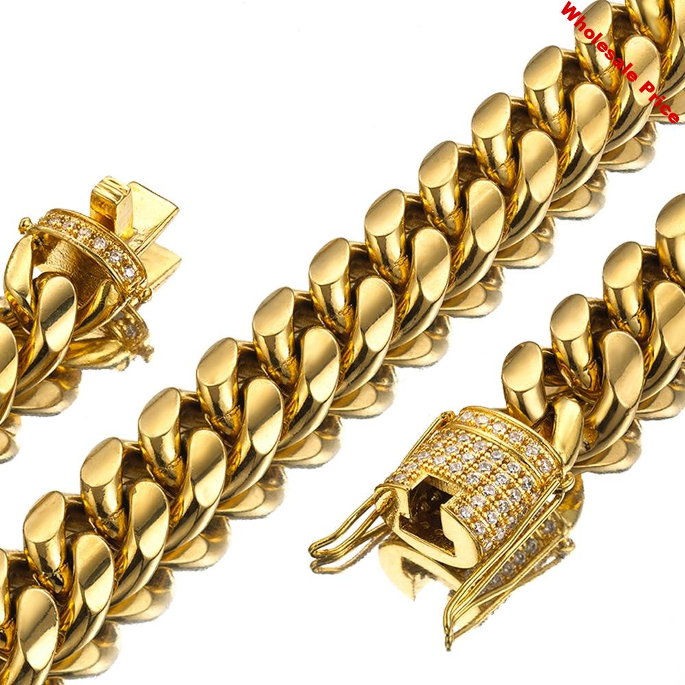 7-40 Inches Miami Curb Cuban Link Chain For Men 14mm Wide Necklace Or Bracelet Jewelry Trendy Stainless Steel Gold Color