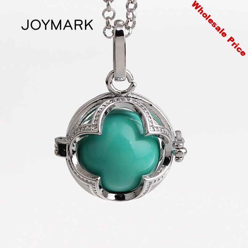 5pcs/lot 4 Leaf Clover Hollow Cage Locket Mexican Chime Magic Box Sound Ball Pendant Pregnancy Maternity Necklaces HCPN67