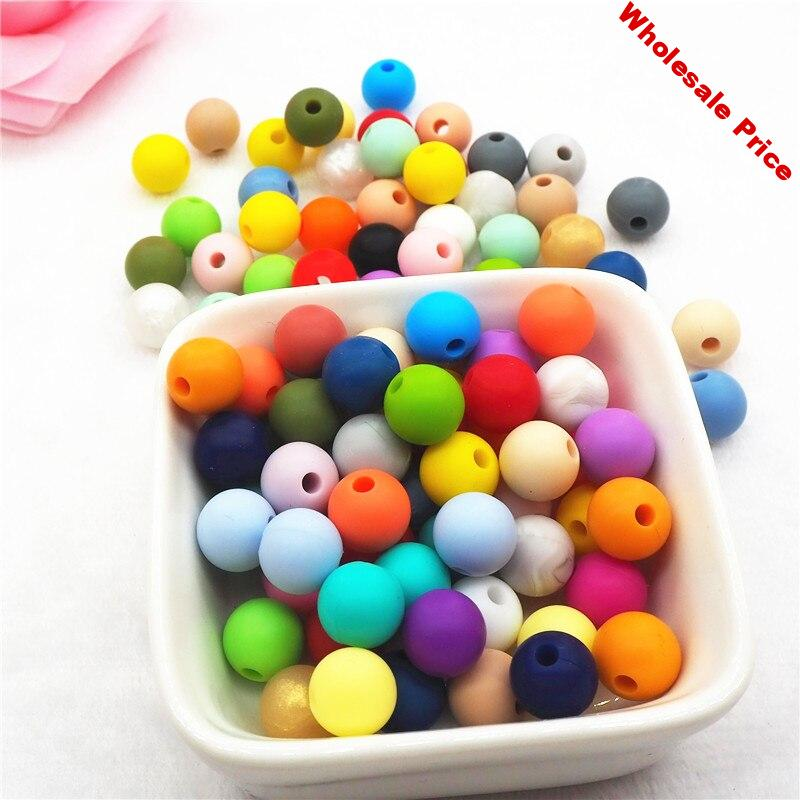 Chengkai 100pcs 12mm Silicone Teether Beads DIY Baby Pacifier Dummy Chain Nursing Sensory Jewelry Toy Making Beads Accessories
