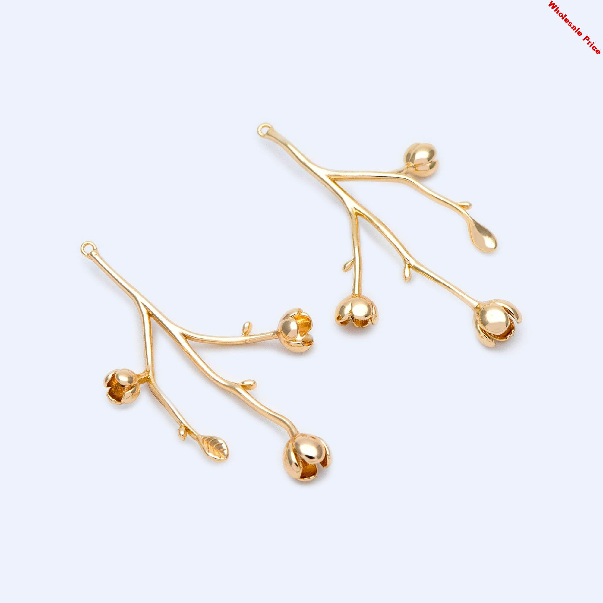10pcs Gold Flower Branch Charms