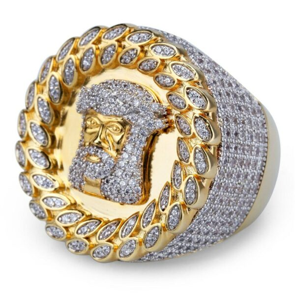 Hip Hop Mens Rings Fashion Rock Jewelry For Mens Gifts Bling Iced Out Jesus Crown AAA Zircon Rings