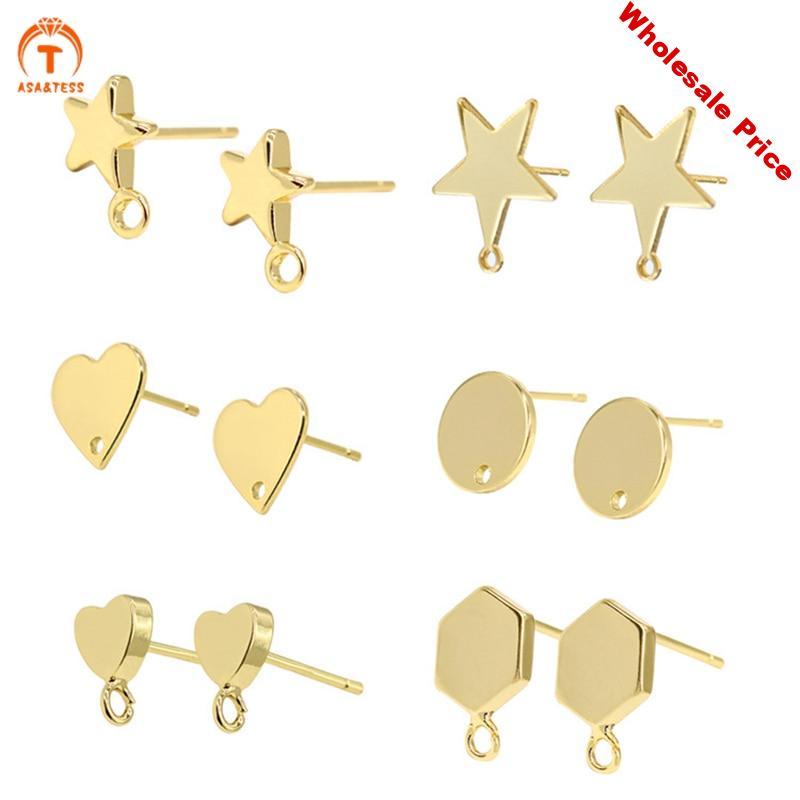 10pcs Diy accessories earrings material package 14K gold plated ear studs anti-allergy 925 silver needle earrings studs