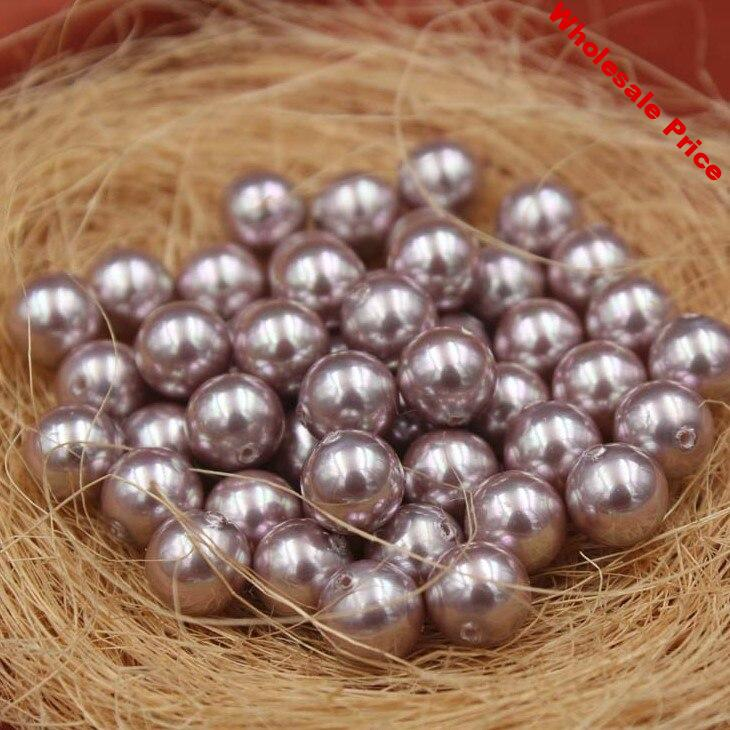 Purple Color Nice Quality South Sea Oyster Shell Pearls Half Drilled Loose Pearls