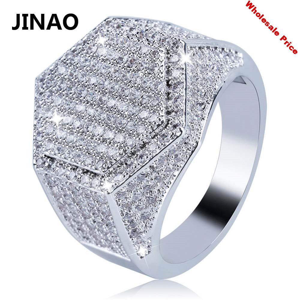 JINAO Hip Hop Fashion Hexagon Ring Copper Gold Silver Color Plated Iced Out Micro Pave Cubic Zircon Charm Ring for Men Women